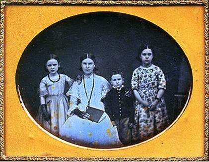 Adeline Shirley posed for this picture with her children sometime in the early 1850s