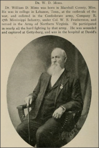 William D. Mims of the 17th Mississippi Infantry wearing his Cross of Honor - Confederate Veteran Magazine (1908, pg. 134).