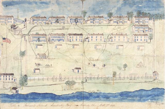 Illustration of the Johnson's Island Prisoner Barracks - The building marked